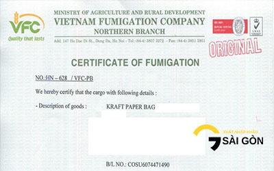 Content of Fumigation Certificate